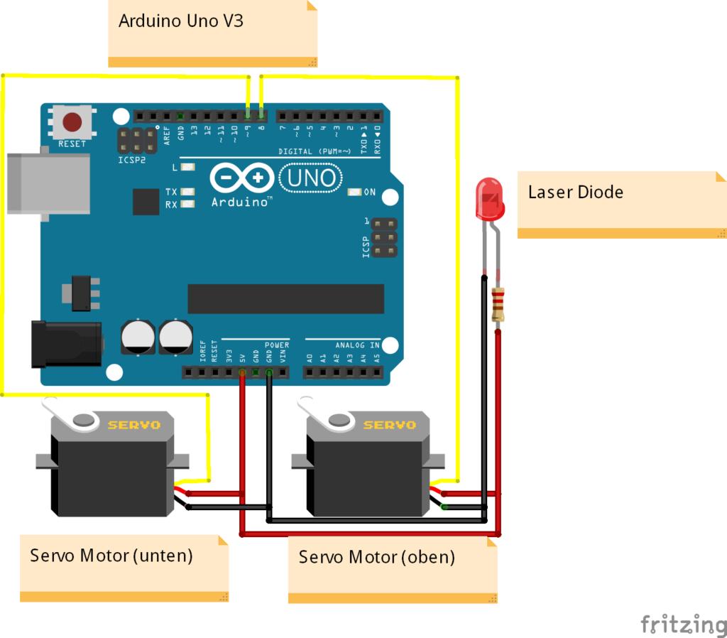 Arduino Katzen Laser Spielzeug Bauplan